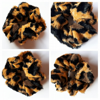 Scrunchie in leopard fur like fabric . Free uk delivery.
