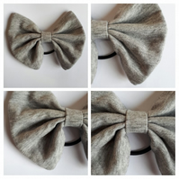 Hair bobble bow in grey. Free uk delivery.