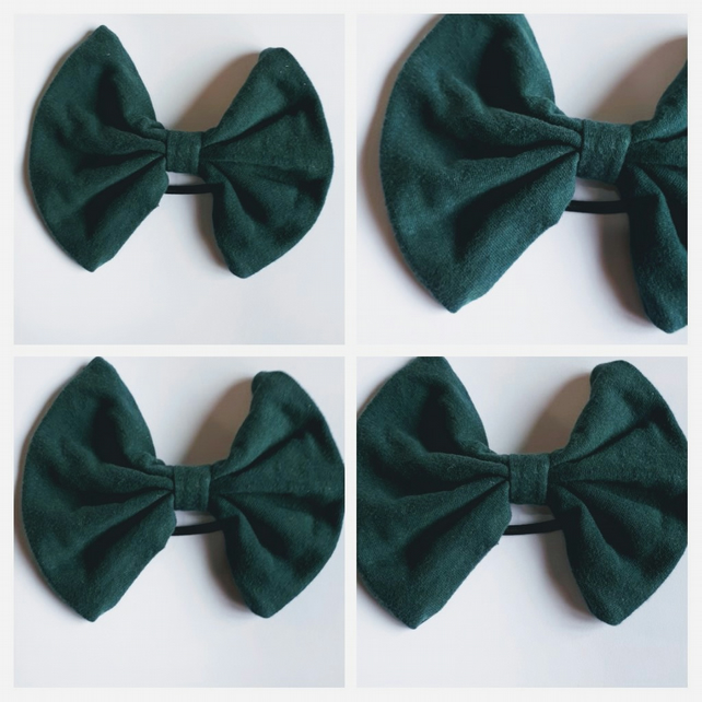 Hair bow bobble in dark green. Free uk delivery.