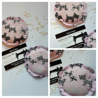 Hand warmers rice filled in pink Scottie dog fabric.