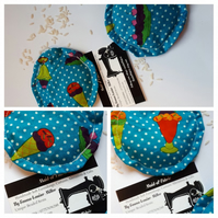 Hand warmers rice filled in polkadot sundae fabric.