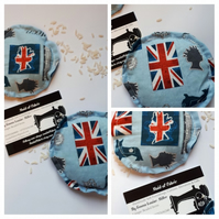 Hand warmers rice filled in British blue fabric.
