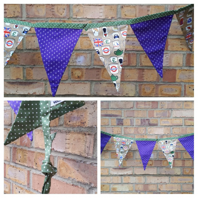 Bunting in London theme, purple and green polkadot fabric.