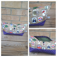 Makeup bag in London theme fabric.