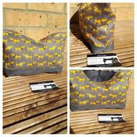 Storage bag, case in yellow dog fabric.  Free uk delivery .