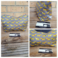Storage bag, case in yellow dog print fabric.  Free uk delivery.