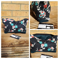 Storage bag,  case in navy floral fabric, free uk delivery.