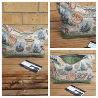 Makeup bag in nautical sailors fabric, free uk delivery.