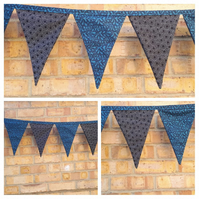 Bunting in teal and black circle fabric.  Free uk delivery.