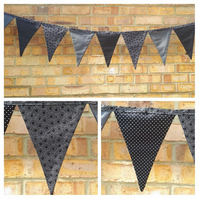 Bunting in black polkadot,  black circles and grey fabric.