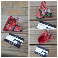 Pyramid keyring coin purse in rose fabric.  Free uk delivery.