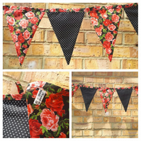 Bunting in red rose and black polkadot fabric.  Free uk delivery.