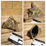 Pyramid keyring coin purse in dog fabric.  Free uk delivery.