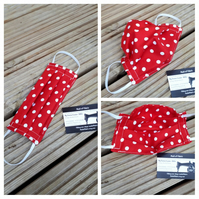 Face mask,  small,  3 layer,  machine washable in red and white polkadot fabric