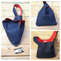 Japanese knot bag, medium, shoulder handbag, denim and red polkadot