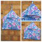 Peg bag in blue,  pink and white floral fabric,  free uk delivery .