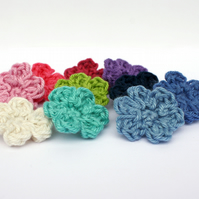 10 Tiny Crochet Flower Appliqués - Pick Your Colour