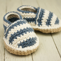 Newborn Beach shoes, Striped Crochet Loafers - MADE To ORDER