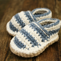 Beach shoes, Striped Crochet Loafers, 0-6 Months - MADE To ORDER