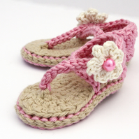 Newborn Sandals, Crochet Baby Girl Sandals - Made to Order