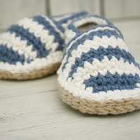Beach shoes, Striped Crochet Loafers, 6-12 Months - MADE To ORDER