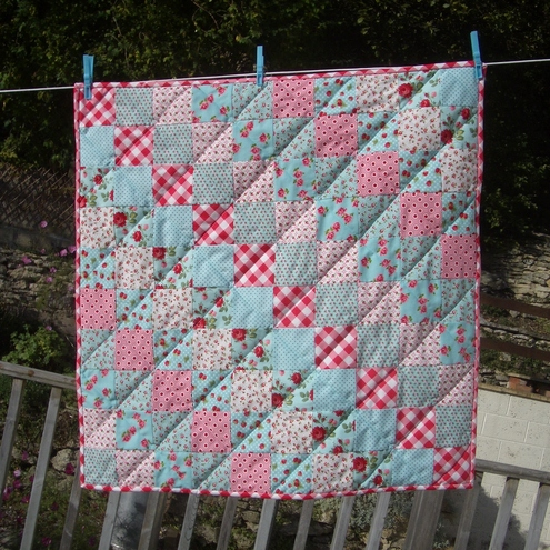 Patchwork Baby Nursery Quilt Handmade Pink Red Aqua Roses Strawberries Lakehouse Fabrics