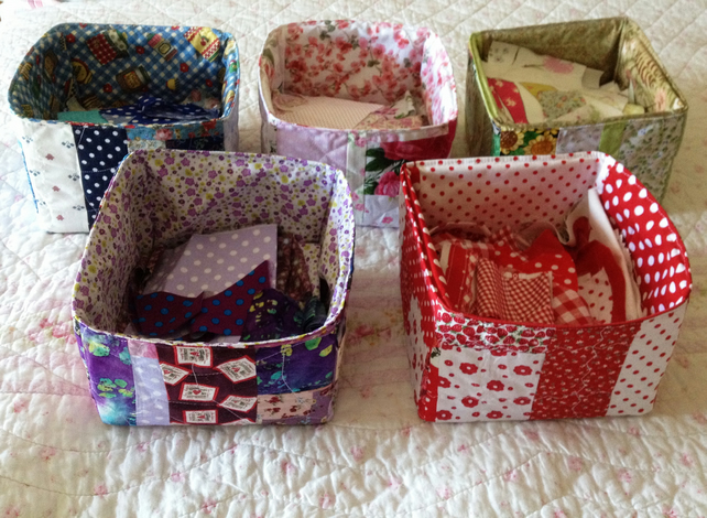Handmade Patchwork Quilted Storage Box Made To Folksy
