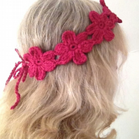 Handmade Flower Power Headband - Crochet Knit Cotton Hair Band -Raspberry Pink