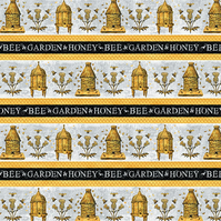Cotton Fabric-A Bee's Life Bee Hives Stripe Honey Garden Grey Gold Wilmington