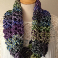 Handmade Buttoned Cowl-Crochet Scarf with Buttons-Purple Blue Green Neck Warmer