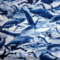 Cotton Fabric Blue Whales Ocean Sea Orca Humpback Dolphin Beluga Fq or Metre