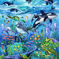 "Cotton Fabric Panel Sea Life Vacation 24"" Ocean Whale Orca Reef Fish Dolphin"