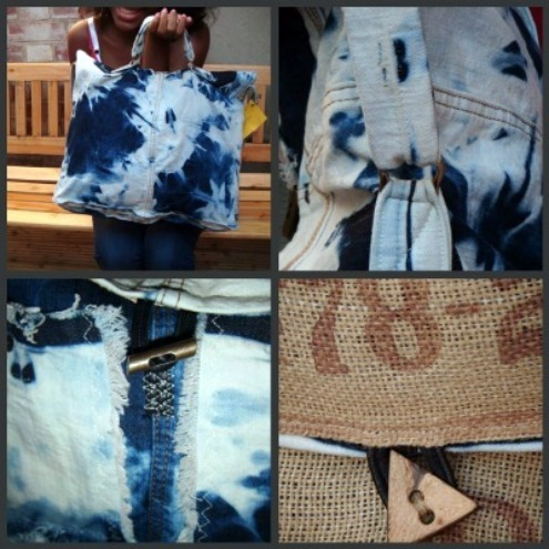 Satchel Upcycle Dyed Denim Coffee Sack Unisex Reversible Bag  - On trend