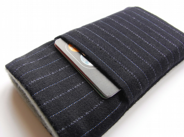 iphone 5 4 Case - Cover  Navy Pinstripe City Suit