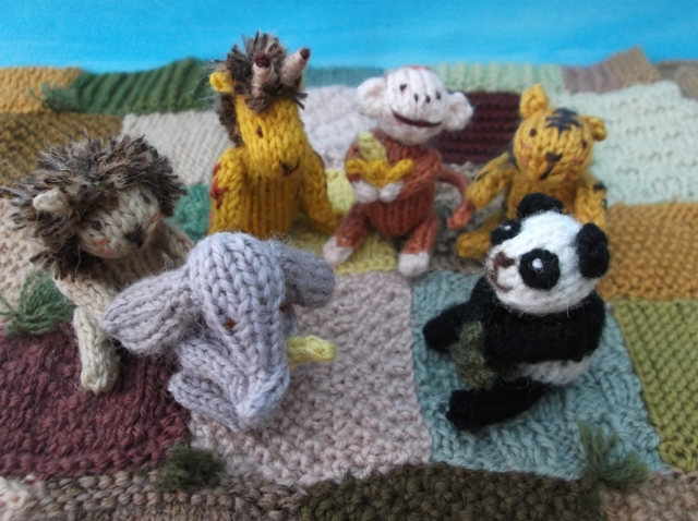 Knitting Patterns Zoo Animals : Knitted zoo animal set - Folksy