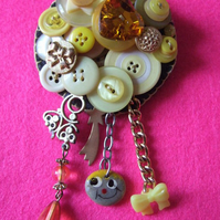Circular Bright Yellow Vintage Button Brooch With Vintage & Retro Charms
