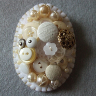 Beautiful White Oval Vintage Pearls and Button Brooch