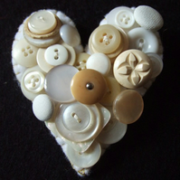Large White Heart Button Brooch