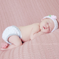 Rose Petal headband and diaper nappy cover set