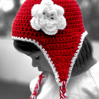 Hat - crochet ear flap hat with flower,