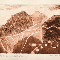 Pegasus on Fellside, artist proof collagraph print