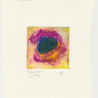 Tiny collagraph print in cobalt violet,cadmium yellow and green