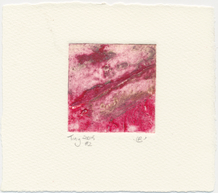 Pink and red tiny collagraph print