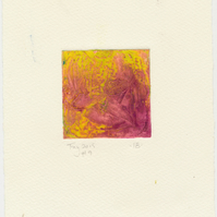 Colourful tiny collagraph print in violet and yellow