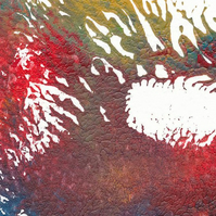 Tiny monoprint in reds, yellows and greens with a hint of blue
