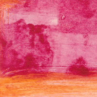 Tiny monoprint in magenta and cadmium yellow 2017 series no 2