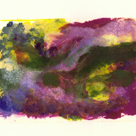 Landscape Study no. 7 Colourful monoprint in rich purples magenta green