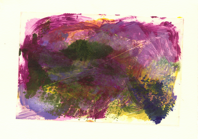 Landscape Study no. 6 Colourful monoprint in rich purples magenta green