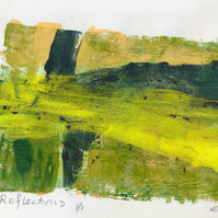 Reflections - monoprint made with acrylics on paper