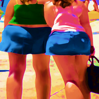 Fat Bottomed Girls limited edition digital print - homage to Beryl Cook